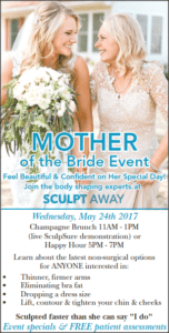 advertisement for mother of the bride event with image of a bride and her mother