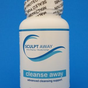 "white bottle with blue writing ""cleanse away advanced cleansing support"""