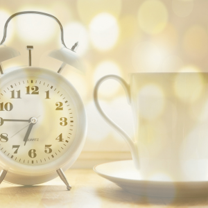Alarm Clock and Coffe Mug